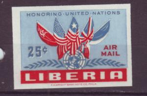 J16905 JLstamps 1952 liberia set of 1 mnh #c70 flags imperf