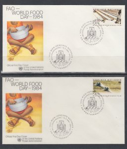 UN Vienna 40-41 Food Day UN Postal Administration U/A Set of Two FDC