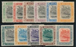 1907-10 Brunei River View Set of 11, SG 23-33 MH