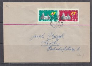 SWITZERLAND,1955 Philatelic Exhibition imperf. pair from Souvenir Sheet cover.