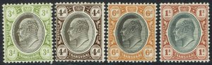 TRANSVAAL 1904 KEVII 3D 4D 6D AND 1/- WMK MULTI CROWN CA