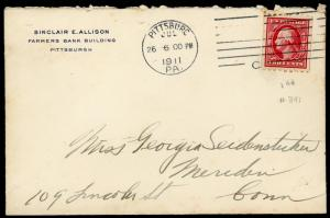 COVER ~ Postal History ~ Pittsburg 1911 Using A  #391  ~ S5049