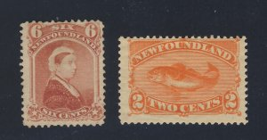 2x Newfoundland  Stamps #35-6c MNG F/VF #48-2c MGD F/VF Guide Value = $65.00