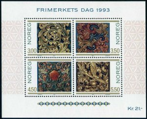 Norway 1046 sheet,MNH.Michel 1135-1138 Bl.20. Stamp Day 1993.Carvings-Scrolls.