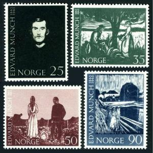 Norway 446-449,MNH.Michel 508-511. 1963.Paintings by Edward Munch,1863-1944.