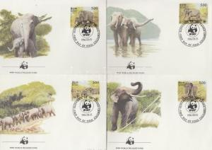 Sri Lanka stamp WWF Elephant set on 4 FDC 1986 Mi 753-756 WS105819
