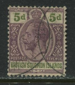 British Solomon Islands KGV 1914 5d used