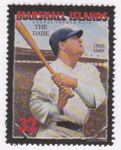 Marshall Islands # 665, Baseball Legend Babe Ruth, NH
