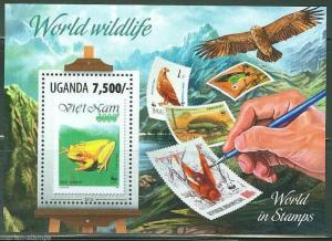 UGANDA 2013 STAMP ON STAMP MOTIF WORLD WILDLIFE FUND  SOUVENIR SHEET  MINT NH