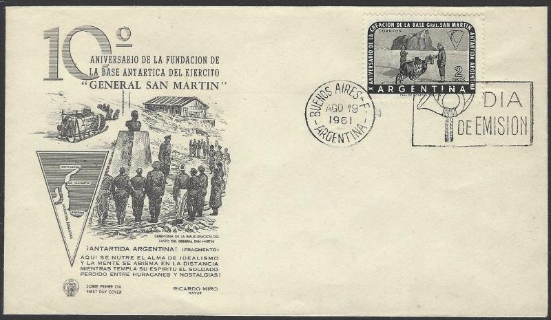 Argentina #731 First Day Cover Antarctic 1961