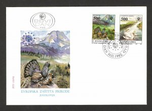 YUGOSLAVIA-FDC-FAUNA-BIRDS-EUROPEAN NATURE PROTECTION-1992.