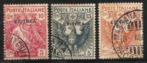 Eritrea Semi Postal 1915 Scott# B1-B3 Used