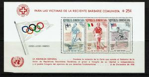Dominican Republic 1957 Flags S/S Perf MNH / Tiny LL Edge Crease - S7596