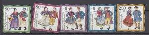 J29724, 1993 germany set mnh #b751-5 costumes