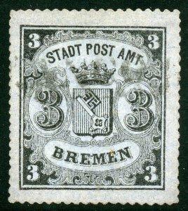 GERMANY BREMEN SCOTT#9a USED VF WITH SISMONDO CERTIFICATE --SCOTT $4000.00