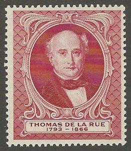 Thomas De La Rue, Early Great Britain Engraved Poster Stamp, Cinderella Label