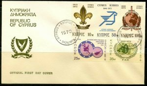 CYPRUS Sc#404-408 FDC 1973 Scouting Complete Set VF