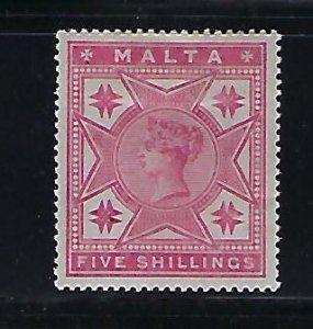 MALTA SCOTT #14 1886 VICTORIA 5 SHILLING (ROSE)- MINT HINGED