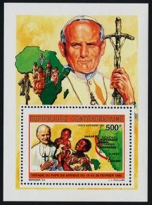 Central Africa 990 s/s MNH Pope John Paul II Visit to Africa, Map