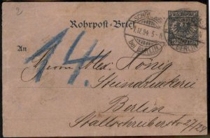 German 1894 Empire Berlin Rohrpost Pneumatic Mail Stationery  Cover G84454