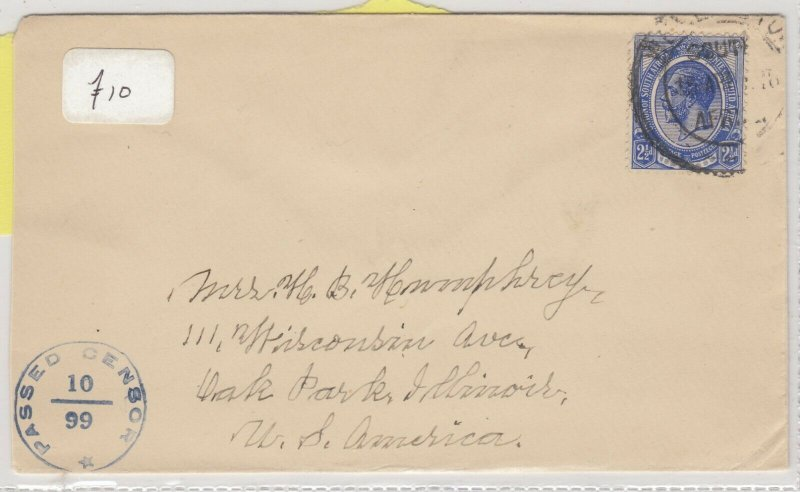 South Africa 1916 Censor Cover To Illinois Postal History  J6072