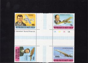 Upper Volta 1978 Sc#463/466 CONCORDE/HISTORY OF AVIATION CROSS BLOCK MNH