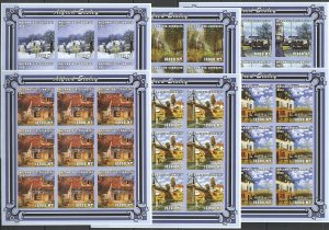 KV180 IMPERFORATE 2001 MOZAMBIQUE NEW ART PAINTINGS ALFRED SISLEY !!! 9SET MNH