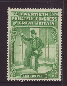 1933 GB 20th Philatelic Conference Stamp Unmounted Mint