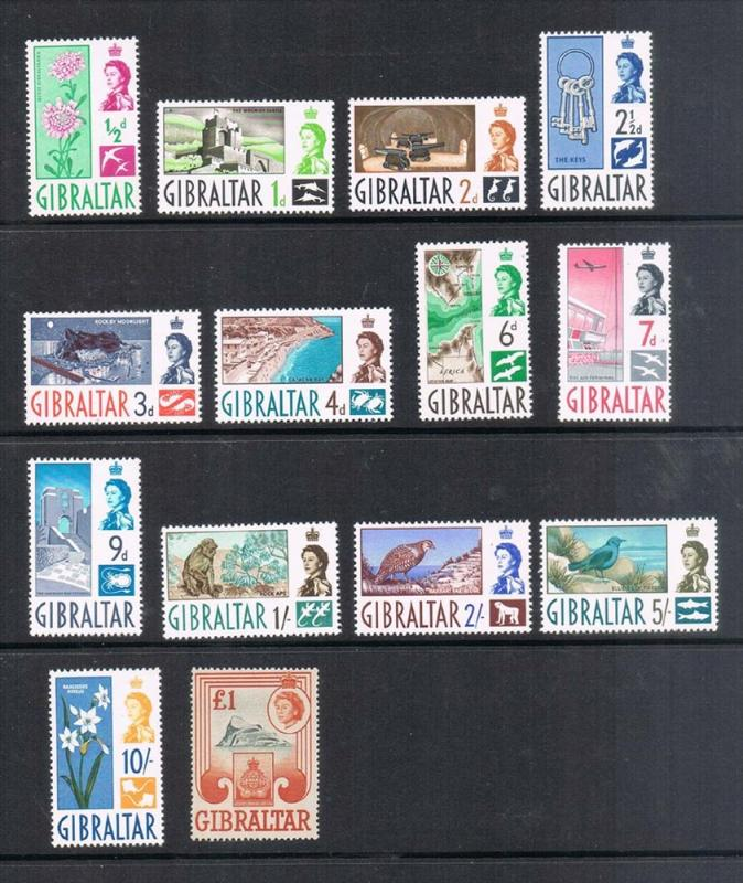 Gibraltar 1960 SG KGVI Sg 160-172 set of 14 MNH