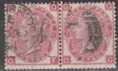 Great Britain  #49 Plate 5 F-VF Used Pair CV $125.00 (A2664)