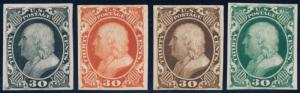 #46TC4 30¢ ATLANTA TRIAL COLOR PLATE PROOFS ON CARD (4) DIFF COLORS HV6836