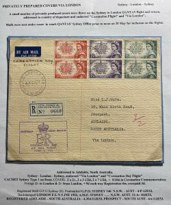 1953 Sydney Australia Cover To Adelaide Queen Elizabeth II Coronation Flight