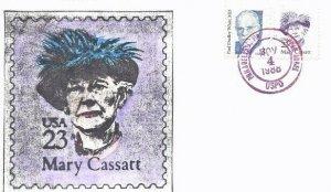 2181 23c MARY CASSATT - Hand colored Erwin Meissner cachet