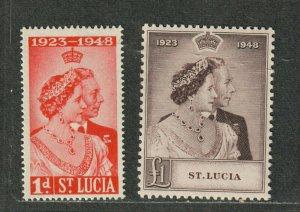 St. Lucia Sc#129+130 M/NH/VF, Silver Wedding, Cv. $22.25
