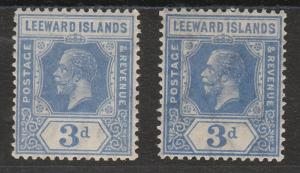 LEEWARD ISLANDS 1921 KGV 21/2D BOTH SHADES WMK MULTI SCRIPT CA