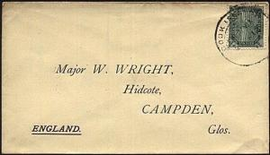 COOK IS 1912 ½d Bird paying printed matter rate on cover to UK.............19742