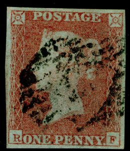 SG9, 1d pale red-brown PLATE 92, FINE USED. Cat £45. 4 MARGINS. RF