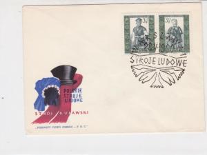 Poland 1960 Polish Folk Costumes +  Slogan Cancel FDC Stamps Cover ref 22969
