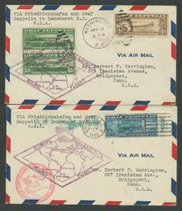 #C13-C15 ON ON 2 FIRST DAY COVERS MATCHING APRIL 19,1930 XF+ RARE WLM8116