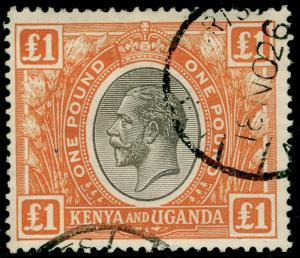 KENYA UGANDA TANGANYIKA SG95, £1 black & orange, FINE used. Cat £325.
