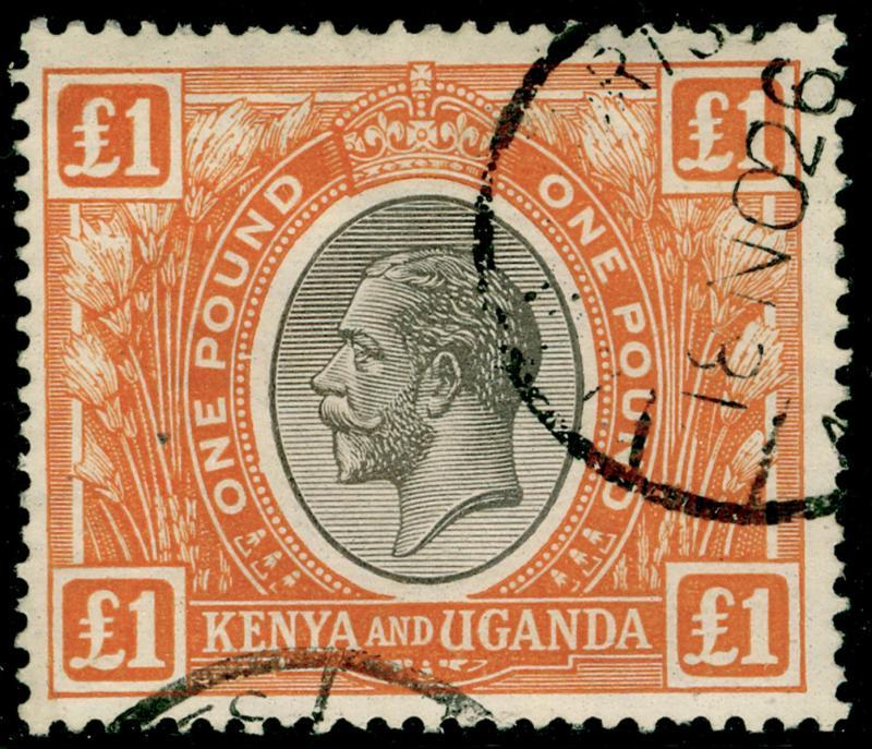 KENYA and UGANDA SG95, £1 black & orange, FINE used. Cat £325.