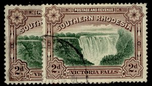 SOUTHERN RHODESIA GV SG35 + 35a, 2d PERF VARIETIES, USED. Cat £20.