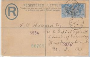 52377  - TRINIDAD & TOBAGO -  POSTAL STATIONERY REGISTERED LETTER to USA 1894