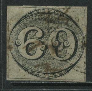Brazil 1843 60 reis black imperf used 1st Brazilian stamps