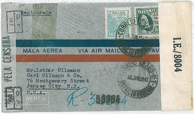 POSTAL HISTORY : BRAZIL - AIRMAIL COVER to USA 1943  - CENSORED