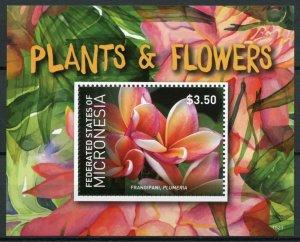 Micronesia Plants & Flowers Stamps 2015 MNH Frangipani Plumeria Flora 1v S/S