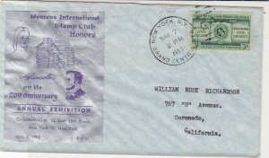 U.S. 1955 Womens Int. Stamp Club 20th Ann Exh Illustd Uni Stamp Cover Ref 34482
