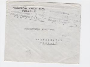 Greece 1954 piraeus credit bank  to bremen germany airmail stamps cover   r19748