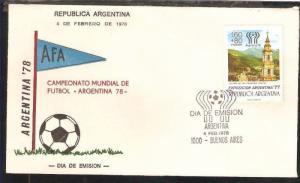 AAF-296 ARGENTINA 1978 SPORT,FOOTBALL SOCCER WORLD CUP SEMIPOSTAL FDC