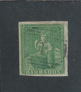 BARBADOS 1855-58 (½d) GREEN FOUR MARGINS GU SG 8 CAT £150